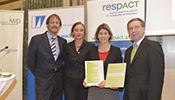 Astrid Kühn (2nd from right), Zumtobel Group Sustainability Officer, at the award ceremony.