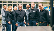Thomas Kresser (fourth from left), Head of Apprenticeship Training at the Zumtobel Group, with his team of instructors.